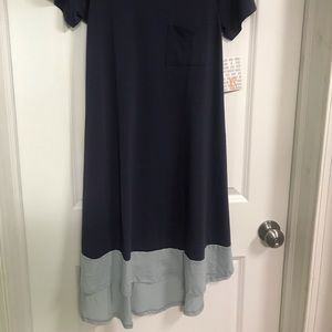 Lularoe XS Carly blue/purple w light blue dipped